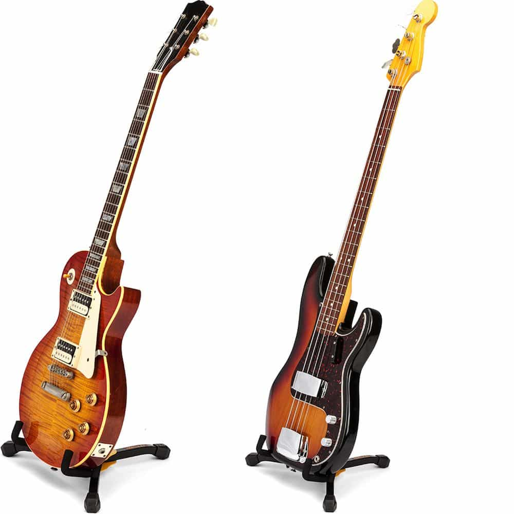 hercules gs402bb electric guitar and bass stand mini with carry bag bashs music. Black Bedroom Furniture Sets. Home Design Ideas